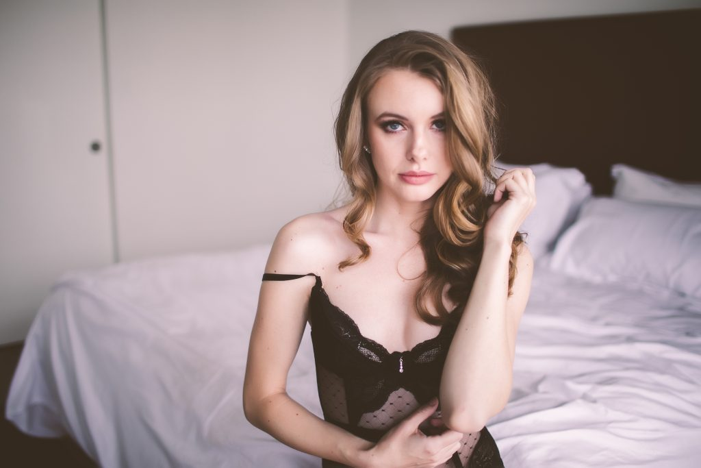 Model faces the camera during an intimate photo session