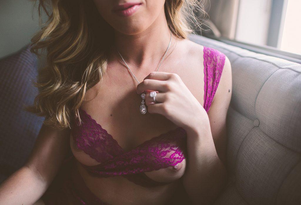 Photos of a bride who gave a wedding boudoir photography review