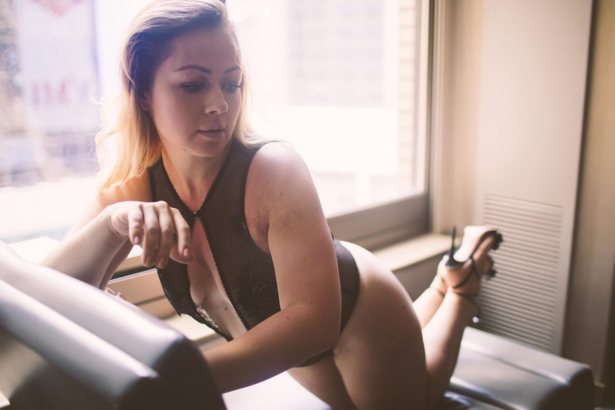 A boudoir photography session at W Times Square Hotel